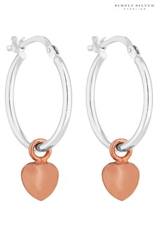 Simply Silver 14ct Rose Gold Plated Sterling Silver 925 20mm Two-Tone Heart Charm Hoop Earrings