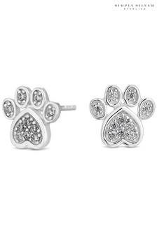 Simply Silver Sterling Silver 925 Cubic Zirconia Paw Print Stud Earrings