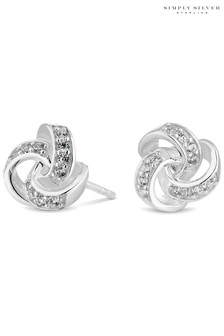Simply Silver Silver Sterling Silver 925 Cubic Zirconia Knot Stud Earrings