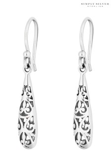 Simply Silver Sterling Silver 925 Polished Filigree Caged Drop Earrings