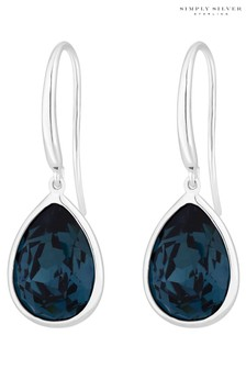 Simply Silver Sterling Silver 925 Blue Made With Swarovski Crystal Pear Drop Earrings