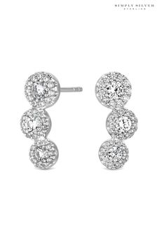 Simply Silver Sterling Silver 925 Cubic Zirconia Pave Floral Ear Climber Earrings