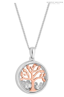 Simply Silver Rose Gold Plated Sterling Silver Tree Of Life Shaker Pendant Necklace