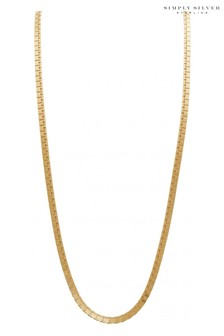 Simply Silver 14ct Gold Plated Sterling Silver Flat High Shine Necklace