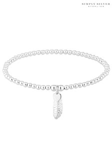 Simply Silver Sterling Silver 925 Feather Stretch Bracelet