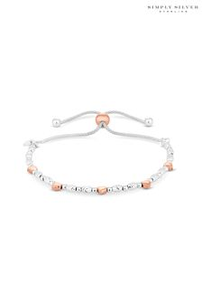 Simply Silver Sterling Silver 925 Two-Tone Heart Toggle Bracelet