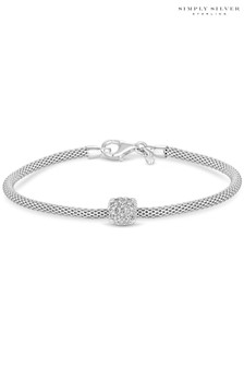 Simply Silver Sterling Silver 925 Popcorn Cubic Zirconia Square Pave Charm Bracelet