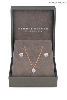 Simply Silver Rose Gold Plated Sterling Silver 925 Cubic Zirconia Jewelry Set