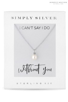Simply Silver Sterling Silver 925 White Cubic Zirconia Short Pearl Pendant Necklace