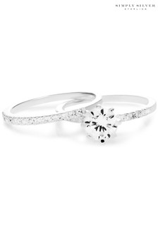 Simply Silver Sterling Silver 925 Cubic Zirconia Solitaire Bridal Set - Small