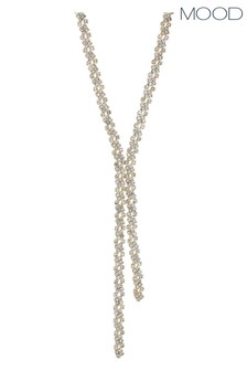 Mood Rose Gold Plated Crystal Lariat Necklace