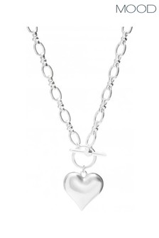Mood Silver Plated Molten Heart T Bar Pendant Necklace