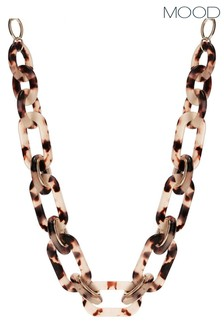 Mood Gold Plated Tortoise Shell Resin Link Allway Necklace
