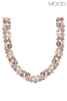 Mood Silver Plated Tonal Pink Mix Shape Encrusted Collar Necklace