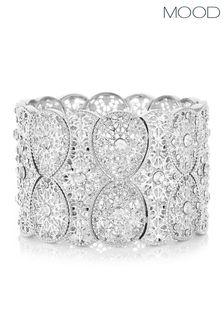 Mood Silver Plated Filigree Statement Stretch Bracelet