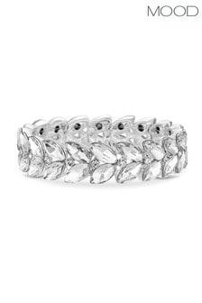 Mood Silver Plated Leaf Stone Stretch Bracelet