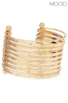 Mood Gold Plated Texture Cuff Bracelet