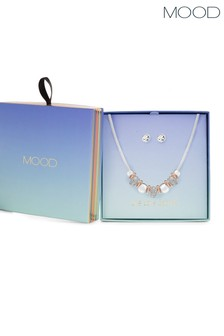 Mood Silver Mix Plate Crystal Link Section Set - Gift Boxed