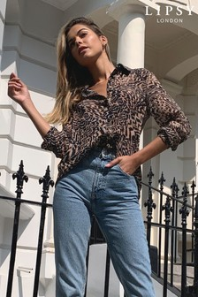 Lipsy Brown Animal Printed Shirt