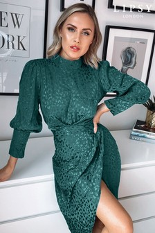 Lipsy Green Wrap Skirt Midi Dress