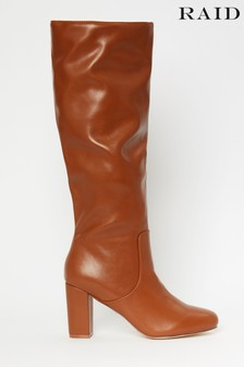 Raid Brown High Leg Slouch Boots