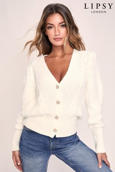 Lipsy Ivory Button Through Knitted Cardigan