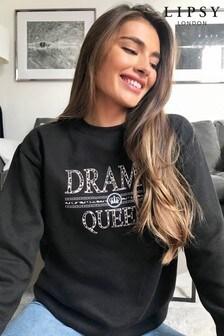 Lipsy Black Drama Logo Sweatshirt