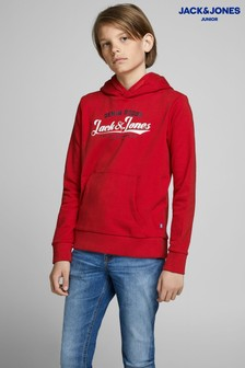 Jack & Jones Red Junior Logo Sweat Hood