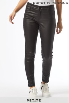 Dorothy Perkins Black Petite Coated Frankie Jeans