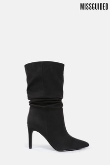 Missguided Black Faux Suede Ruched Stilleto Ankle Boots