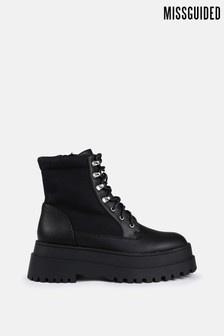 Missguided Black Faux Leather Canvas Panel Chunky Boots
