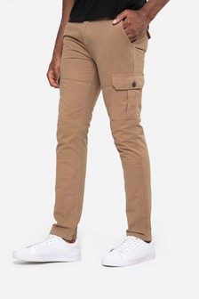 Threadbare Stone Slim Fit Cargo Trousers