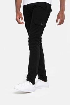 Threadbare Black Slim Fit Cargo Trousers