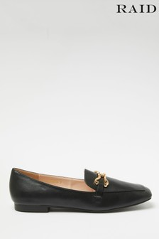 Raid Black Flat Loafer with Snaffle