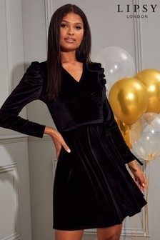Lipsy Black Puff Sleeve Wrap Dress