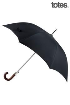 Totes Black Premium Automatic Plain Walking Length Umbrella
