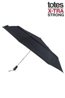 Totes Black X-Tra Strong Auto Open/Close Ratchet Umbrella