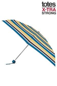 Totes Teal Mini X-tra Strong Stripe Print Umbrella