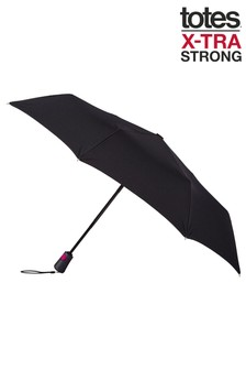 Totes Black X-Tra Strong Auto Open/Close Umbrella