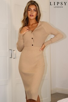 Lipsy Camel Ribbed Knitted Midi Skirt