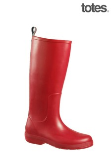Totes Red Womens Claire Tall Wellie Boot