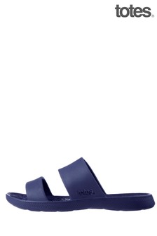 Totes Navy Bounce Womens Double Strap Slider