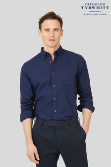 Charles Tyrwhitt Navy Plain Slim Fit Soft Washed Non Iron Twill Shirt