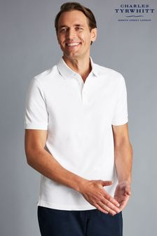 Charles Tyrwhitt White Short Sleeve Pique Polo Shirt