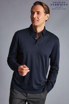 Charles Tyrwhitt Navy Plain Long Sleeve Smart Jersey Polo Shirt