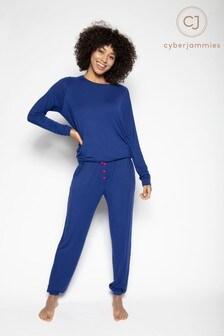 Cyberjammies Blue Knitted Top & Bottoms Pyjama  Set