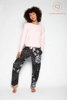 Cyberjammies Black Knit Top And Floral Pant Pyjama Set