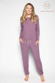 Cyberjammies Purple Knitted Top & Bottoms Pyjama  Set