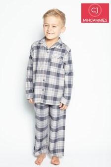 Cyberjammies Grey Check Thomas Longsleeve Shark Printed Pyjama Set