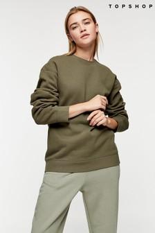 Topshop Green Flatlock Oversized Sweatshirt